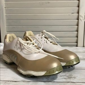 Adidas Fitfoam White Gold Tour Metal Golf Cleats